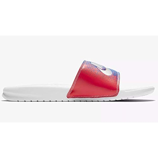new product d90b1 dc22d Nike Benassi Mens Slippers Aq7983-100_7 - White/Metallic Silver-Speed Red
