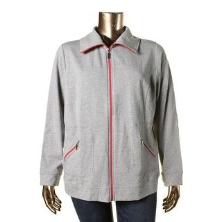 Karen Scott Womens Plus Heathered Contrast Trim Jacket - 1X