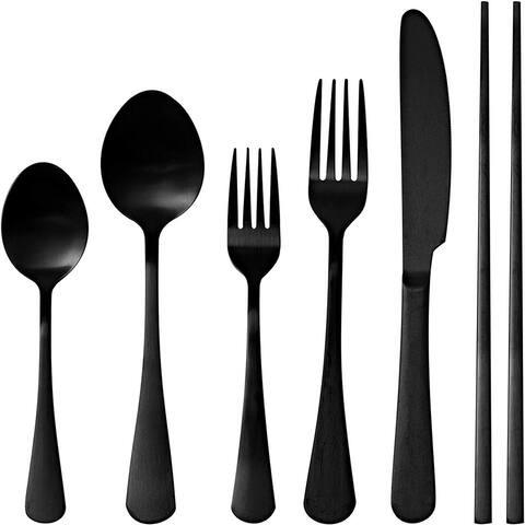 Kitchen Comfort 24-Piece Matte Black Finish Flatware Set Stainless Steel Cutlery Set for 4 + Chop Sticks!