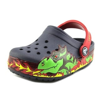 Crocs Crocslights Fire Dragon Toddler Round Toe Synthetic Blue Clogs