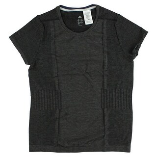 Adidas Womens Adistar Wool Prime Knit Short Sleeve Shirt Dark Heather Grey - Dark Heather Grey - XL