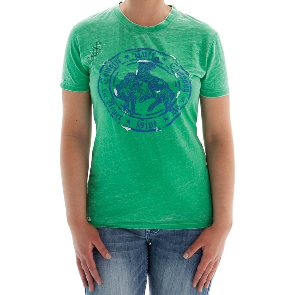 Cowgirl Tuff Western Shirt Womens S/S Tee Burnout Logo Green 100049