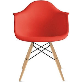 2xhome Red Eames Dining Room Arm Chair With Natural Wood Eiffel Style Legs