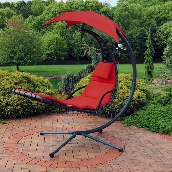 Shop Sunnydaze Red Floating Chaise Lounge Swing Chair And