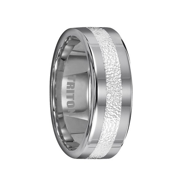 BRYANT Tungsten Wedding Band with 3 mm Wide Textured Silver Inlay by Triton Rings - 8mm