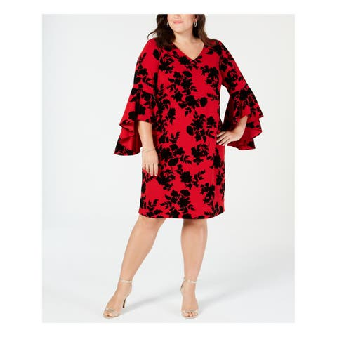 MSK Womens Red Printed Bell Sleeve V Neck Knee Length Shift Cocktail Dress Plus Size: 16W