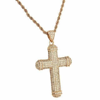 Rose Gold Tone Iced Out Mens Cross Pendant Rope Necklace 24 Inch Cubic ZIrconia