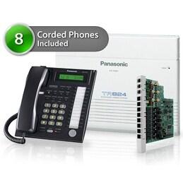 Panasonic KX-TA824-5CO 8 Pack KX-TA824 Phone System + KX-TA82483 Exp. Card + KX-T7731 Corded Phones