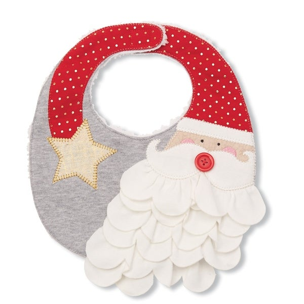 Santa With Ruffled Beard Appliqued Dimensional Holiday Baby Toddler Bib