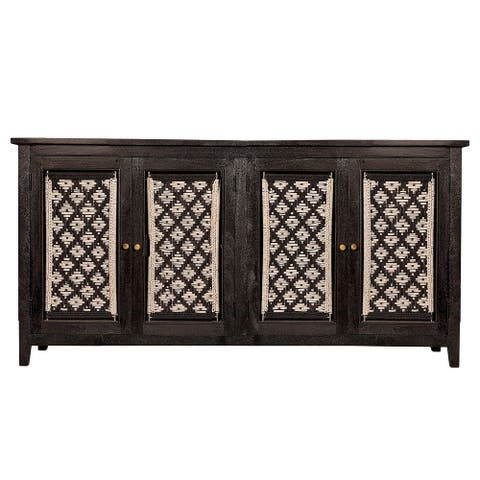 Harp & Finial Devon Black Sideboard with Rope Macrame Design on Doors