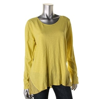 Two by Vince Camuto Womens Mixed Media Long Sleeve Tunic Top - L