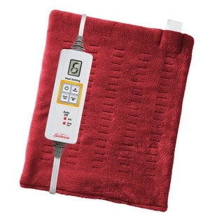 "Sunbeam 002014-915-000 XpressHeat Heating Pad, Garnet Red, 12"" x 15"""