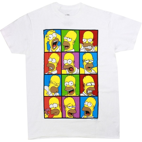 Shop The Simpsons Homer Faces Men s White Shirt - Free Shipping On Orders  Over  45 - Overstock - 18280537 972387733923