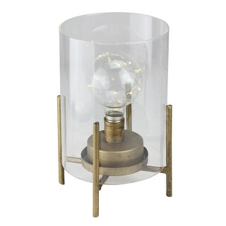 """Pack of 2 Glass Hurricane Cylinder Lanterns with Feet and Old Fashioned Light Bulb with LED Fairy Lights 10"""" - GOLD"""
