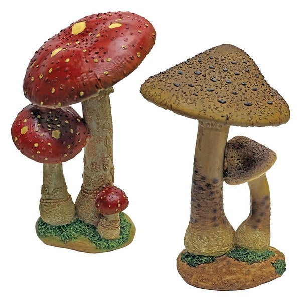 Design Toscano Mystic Forest Red and Tan Mushroom Statue: Set of Two