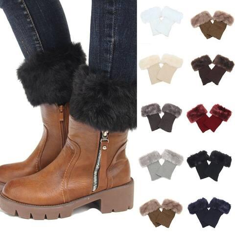 Women Faux Fur Trim Knitted Winter Leg Warmers Boot Socks Topper Cuffs