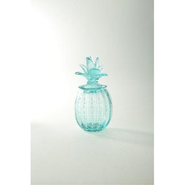 "9.5"" Green Pineapple Design Glass Candy Jar - N/A"