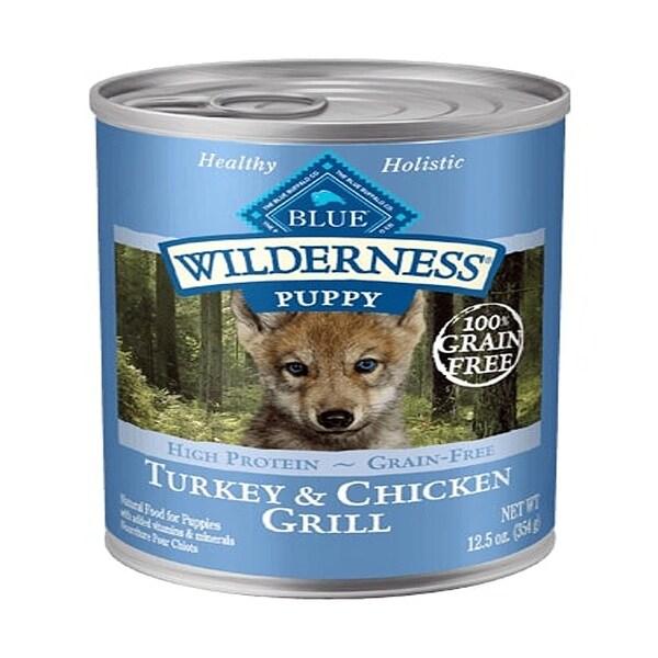 Blue Buffalo Dog Wilderness Puppy Grain-Free Turkey Chicken 12.5 Case of 12 - 12.5 oz. Opens flyout.