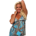 Women's Blue Camo Authentic True Timber Bikini Tankini TOP ONLY Beach Swimwear - Thumbnail 0