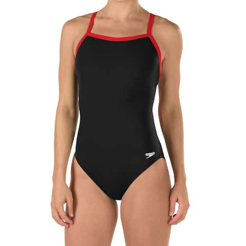 Speedo Womens Swimsuit Black Size 14 Endurance+ One-Piece Flyback