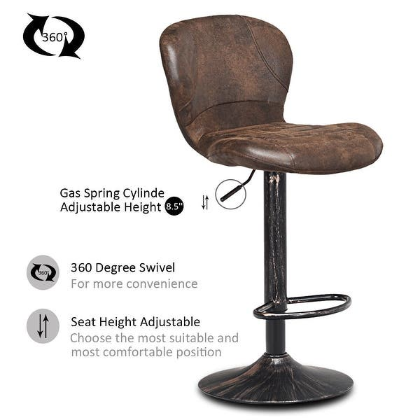 Shop Costway Set Of 2 Adjustable Swivel Bar Stool Hot Stamping Cloth With On Sale Overstock 25768658
