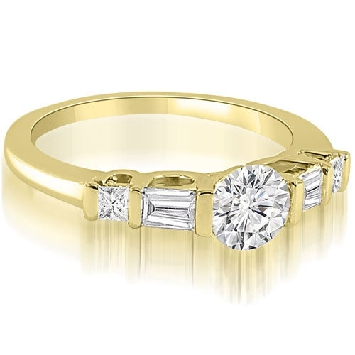 1.00 cttw. 14K Yellow Gold Round and Baguette Cut U-Bar Diamond Engagement Ring