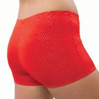 Pizzazz Girls Size 2T-16 Red Sequin Boy Cut Brief Cheer Dance Shorts