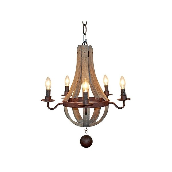 Farmhouse Chandeliers For Dining Room: Shop Farmhouse 5-Light Distressed Wood Chandelier For