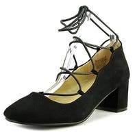 Wanted Shoes Womens Abby Round Toe Ankle Wrap Classic Pumps