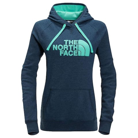The North Face Women's Avalon Half Dome Waffle Hoodie Ink Blue Heather / Bermuda Green