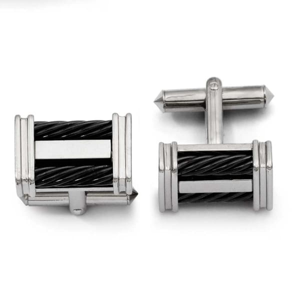 Chisel Titanium Black IP Wire Cuff Links