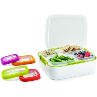 Rubbermaid Balance Pre-Portioned Meal Kit Food Storage Container, 11-Piece Set, White-Citron