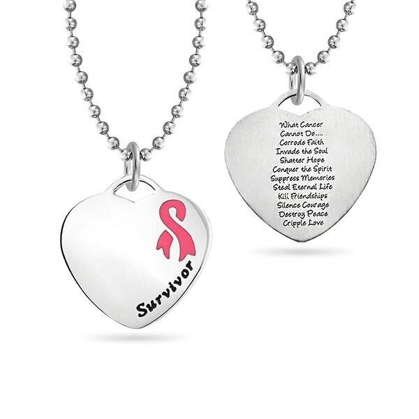 Survivor Cancer Ribbon Silver Bar Necklace Handmade