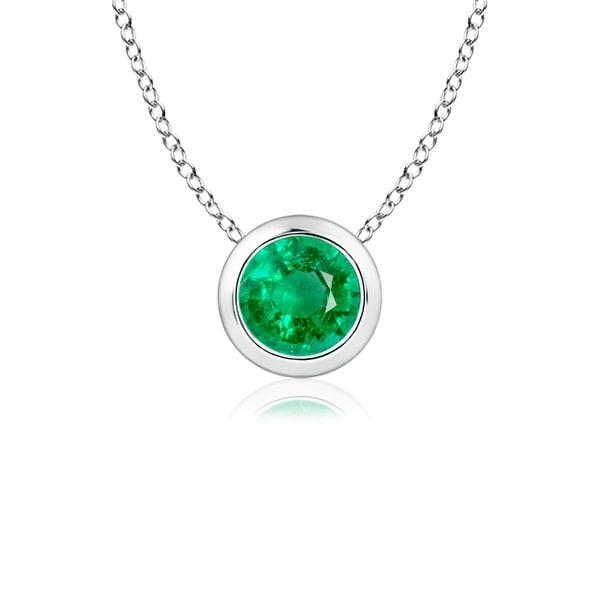 Angara Bezel-Set Emerald Necklace for Women in Platinum HWwqQg7