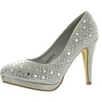 Round Toe Glitter Mesh Rhinestone Studded Low Platform Pump Heels - Silver
