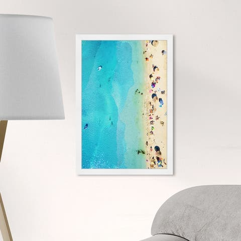 Oliver Gal 'Roman Beach' Nautical and Coastal Framed Wall Art Prints Coastal - Blue, Yellow