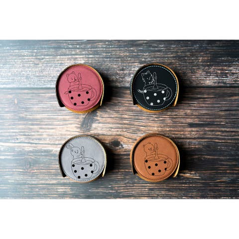 Set of 6 Coasters with Cute Animals Stirring Drinks