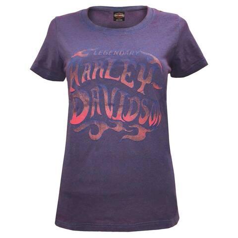 Harley-Davidson Women's Wrath Scoop Neck Short Sleeve Tee - Purple Wash