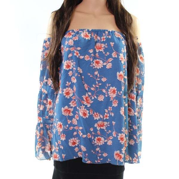 ee7681eb2393d Shop Jessica Simpson Blue Women s XL Floral Print Off-Shoulder Blouse -  Free Shipping On Orders Over  45 - Overstock.com - 27299522