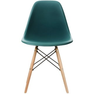 2xhome Designer Plastic Eiffel Chair Natural Wood Legs Retro Dining Armless With Back Desk Accent Living Room Side Dowel DSW (Teal)