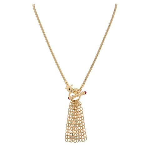 """BRONZORO 18 k Gold Overlay 22"""" Yellow Panther Toggle Necklace"""