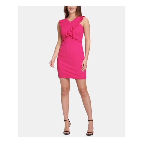 GUESS Womens Pink Sleeveless V Neck Short Sheath Party Dress Size 10