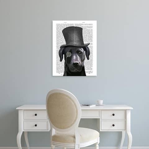 Easy Art Prints Fab Funky's 'Black Labrador, Formal Hound and Hat' Premium Canvas Art
