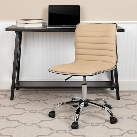 Low Back Designer Armless Ribbed Swivel Task Office Chair