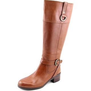 Bandolino Chamber Wide Calf Women Round Toe Leather Brown Knee High Boot