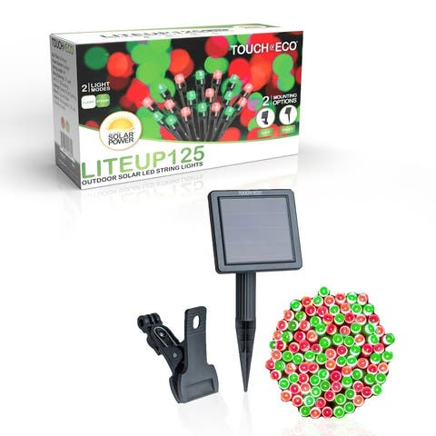 Solar Powered 125 LED String Light - Red & Green - N/A