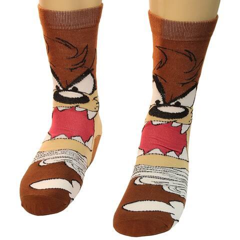 Looney Tunes Tasmanian Devil Lil Taz Crazy Photo Real Men's Crew Socks