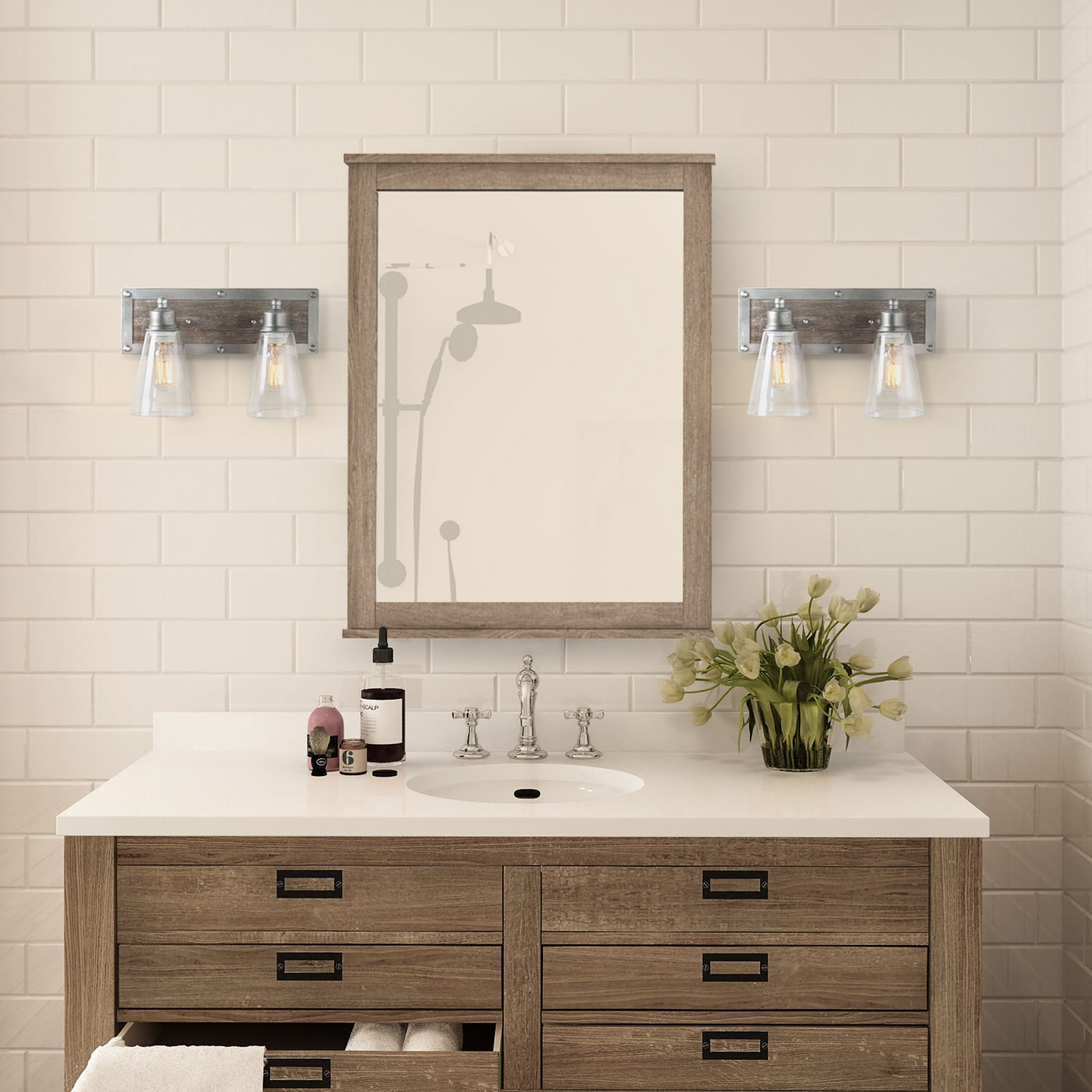 Shop For Rustic 2 Light Wood Wall Sconces Aged Silver Bathroom Vanity Wall Lights W14 X H9 X E6 7 Get Free Delivery On Everything At Overstock Your Online Kitchen Bath Lighting Store Get 5 In Rewards With Club O 25454830