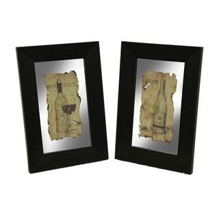 Black Frame 2 Piece Vintage Wine Wall Mirror Set - 24 X 16.5 X 1 inches