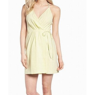 ASTR Yellow Women's Size Medium M Halter V-Neck Textured Wrap Dress